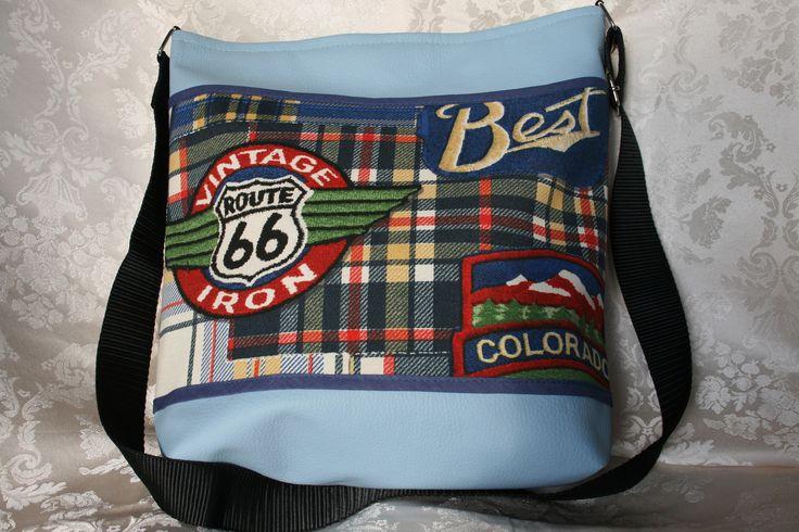 """Sac fantaisie bleu à bandoulière thème : """"Route 66"""". : Sacs bandoulière par l-atelier-creatif-de-aude"""