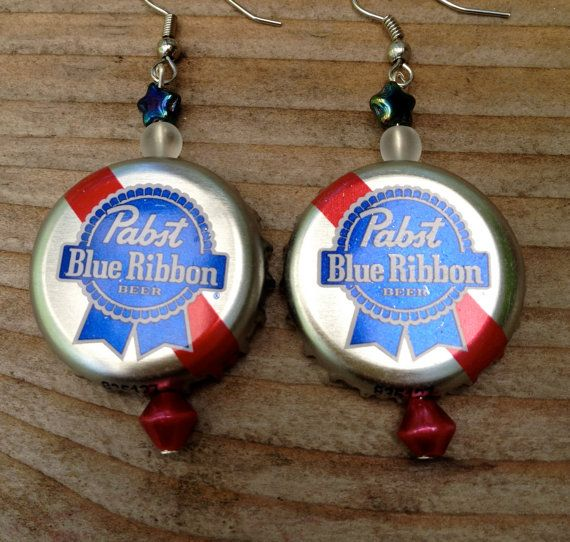 Pabst blue ribbon pbr beer bottle cap earrings by tinymayor creative ideas pinterest - Alternative uses for beer ten ingenious ideas ...