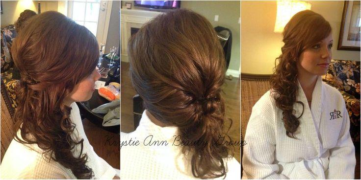 Hair: Rebecca  Krystie Ann Beauty Group  Wedding Hair, Bridal Hair, updo, side ponytail, curls long hair