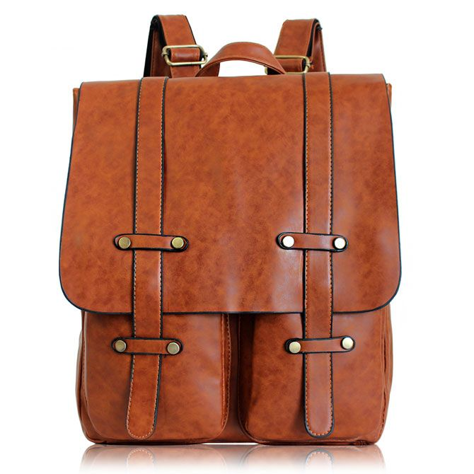 Retro Double Pocket Rucksack UK Style Solid Color