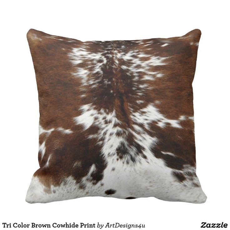 Tri Color Brown Cowhide Print Throw Pillow