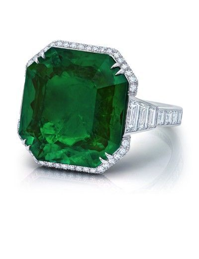 Emerald Cut Old Mine Emerald Ring