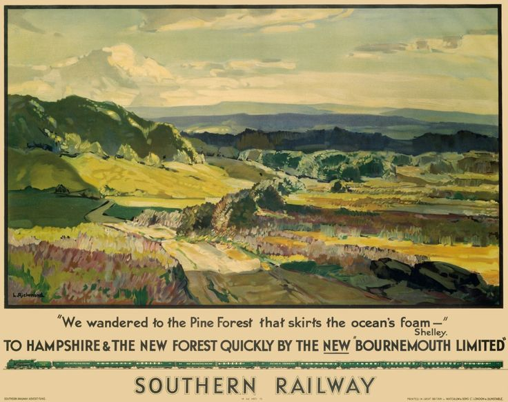 "'To Hampshire and the New Forest Quickly by the New ""Bournemouth Limited""'. Poster produced for Southern Railway. Artwork by Leonard Richmond, who studied at the Taunton School of Art and Chelsea Polytechnic and exhibited widely both in London and abroad."