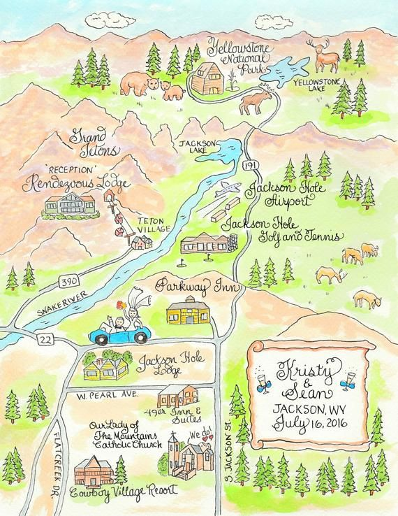 Wedding Maps Custom Map Watercolor Wedding Map
