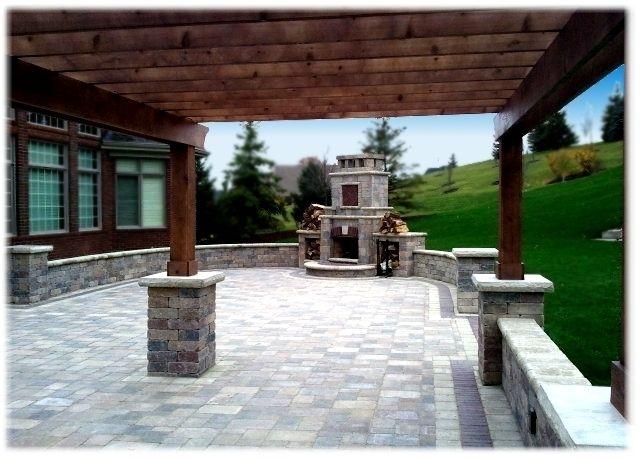 backyard pergola with fireplace   Amazing Backyard Brick Paver Patio with Pergola and Fireplace in ...