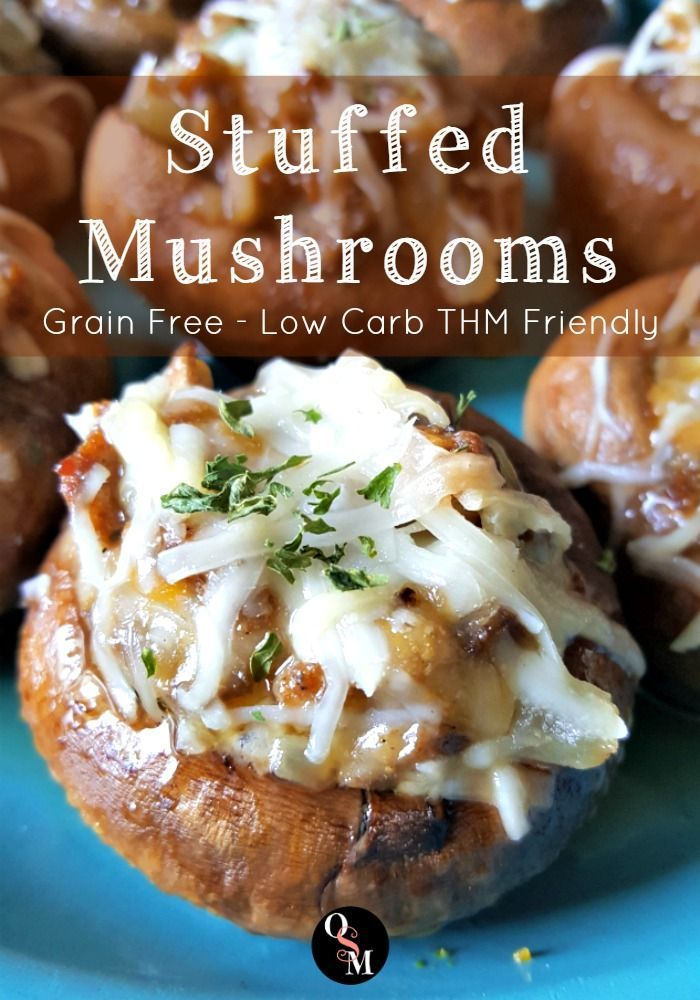 Grain Free Stuffed Mushrooms – Easy Low Carb Appetizers. THM friendly and gluten free! Click for full recipe.