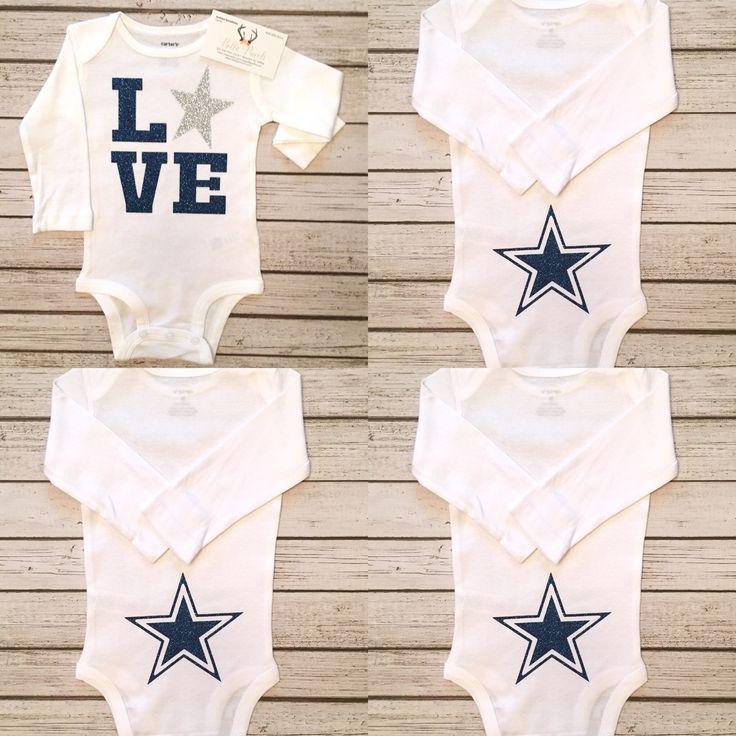 Dallas Cowboys LOVE Long Sleeve Baby Girls Bodysuit Dallas Cowboys Football Baby Girls Bodysuit - BellaPiccoli