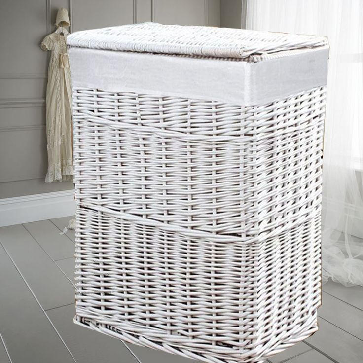 54L MEDIUM WHITE WICKER LAUNDRY BASKETS HAMPER LINING STORAGE HOME ORGANIZER