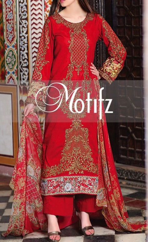 Buy Red Embroidered Cotton Lawn Dress by Motifz 2016 www.pakrobe.com Call:(702) 751-3523 Email: Info@PakRobe.com www.pakrobe.com/... #DESIGNER #LAWN #DRESSES