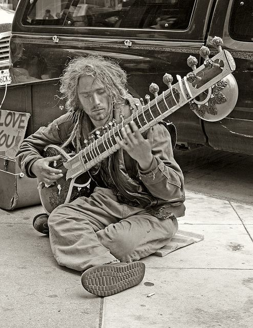 Sitar player on the streets of Haight Ashbury - San Francisco CA