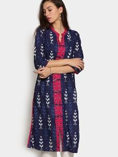 abof Women Navy & Pink Printed Regular Fit Kurta