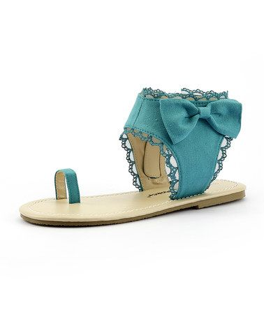 This Mint Toe Ring Sandal by The Doll Maker is perfect! #zulilyfinds