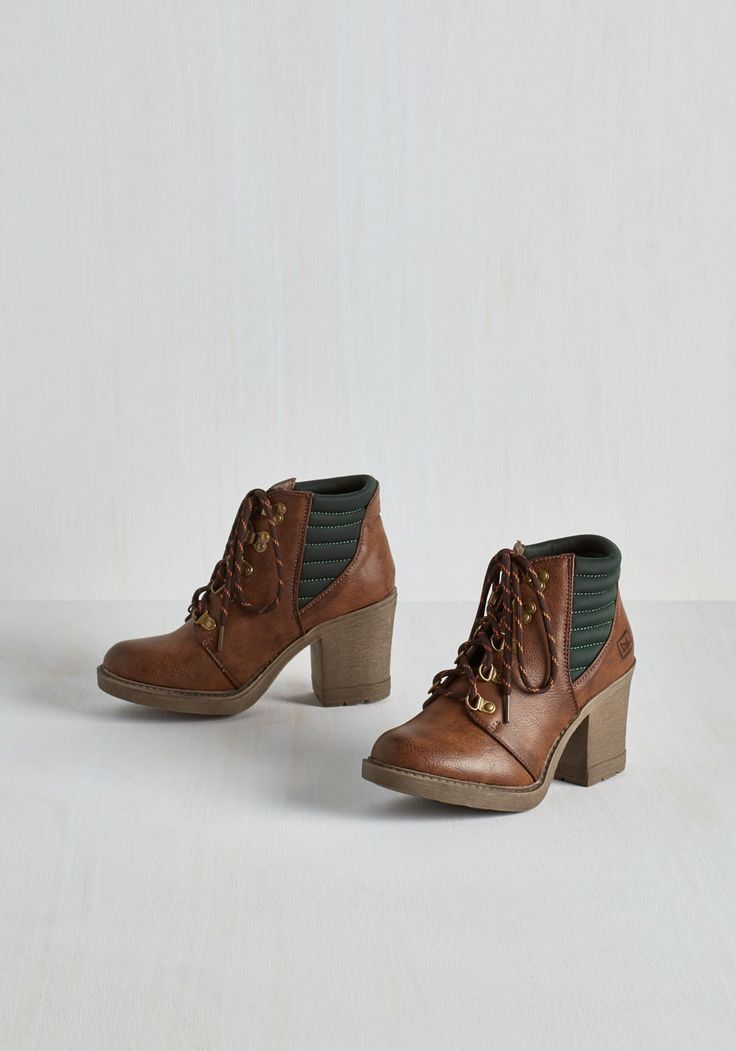 Trek Me Out Bootie - Brown, Black, Solid, Better, Lace Up, Chunky heel, Ankle
