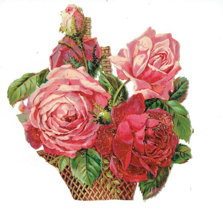 Un chromo - Découpis  - Roses - Fleurs dans panier -- 18 cm fr.picclick.com