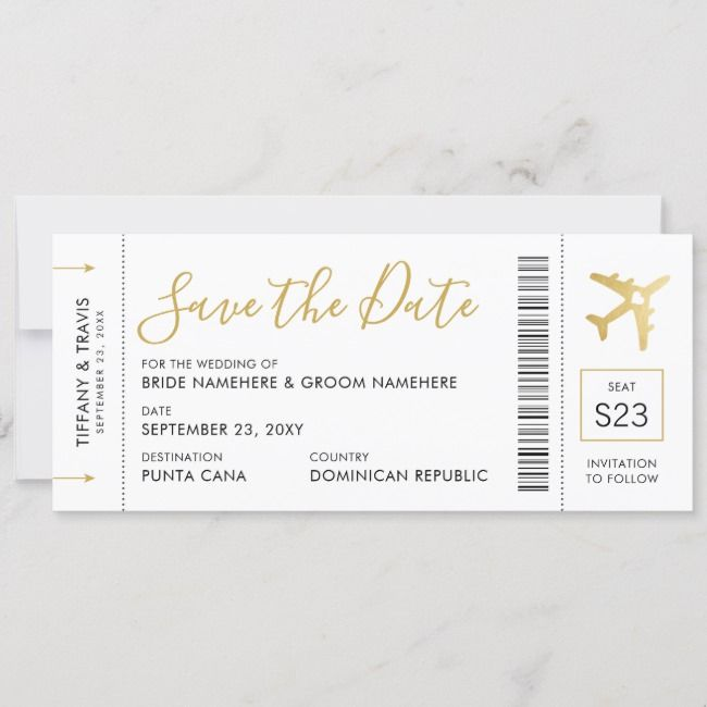 Boarding Pass Ticket Save The Date Gold Plane Card Zazzle