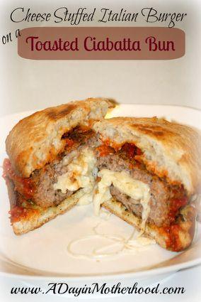 Cheese Stuffed Italian Burger on a Toasted Ciabatta Bun - ChefTap
