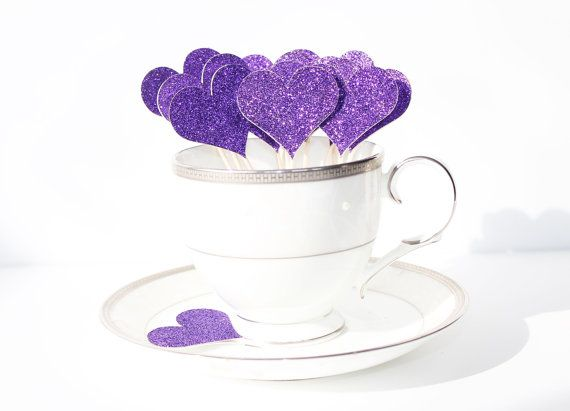 Purple Glitter Heart Food Picks - A lovely way to dress up your special occasion and bring some sparkle to a party or celebration! One side is