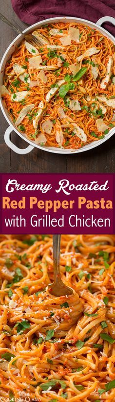 Creamy Roasted Red Pepper Pasta with Grilled Chicken - flavorful and hearty, definitely a repeat recipe!