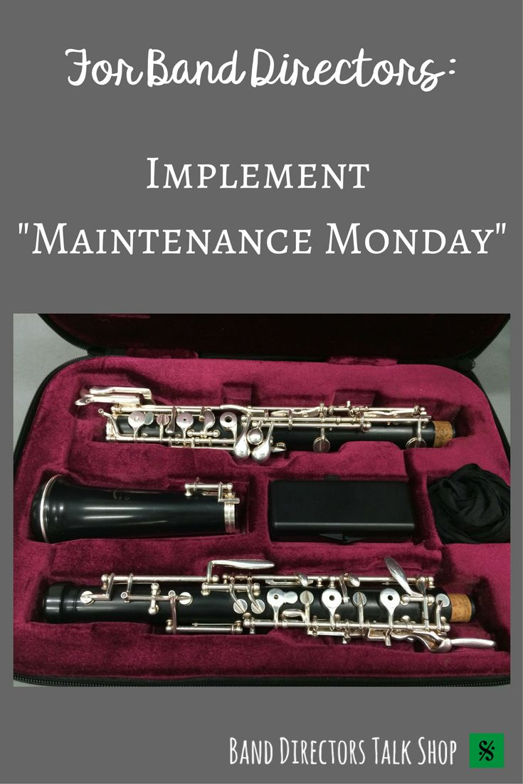 """Click for a great tips on having a """"Maintenance Monday"""" with your band!  Visit Band Directors Talk Shop for band resources, band rehearsal techniques, band lesson plans, band activities, beginner band games, woodwind pedagogy, brass pedagogy, percussion pedagogy, music motivational quotes, private lesson ideas, band teaching inspiration, band fundraising ideas, band recruiting ideas, band instrument information and more!"""