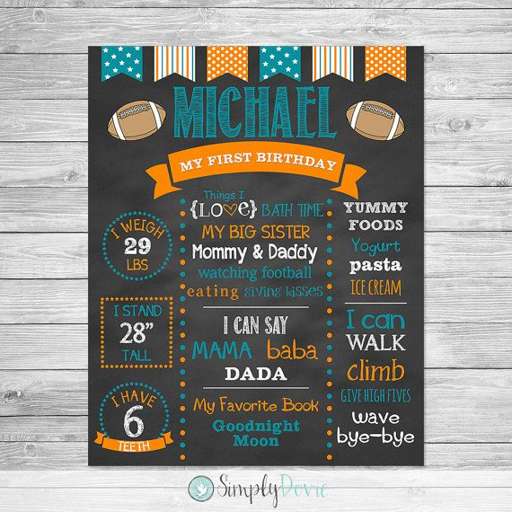 Football First Birthday Chalkboard Poster Printable - First Birthday Chalkboard Sign - Football