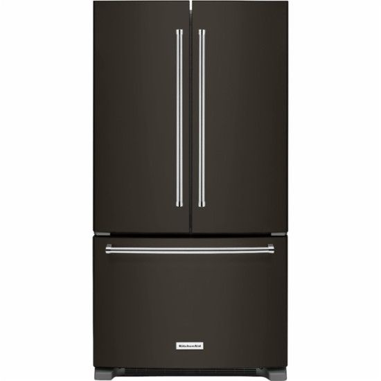 KitchenAid - 25 Cu. Ft. French Door Refrigerator - Black stainless steel - Front_Zoom