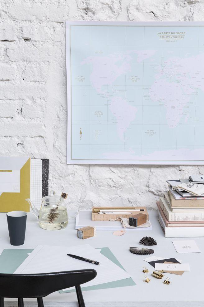 ** Papeterie pour le bureau à la maison** SLOW OFFICE concept DA et stylisme : Elsa Le Saux  Photo : Romain Ricard Edition 2015  Map Monde Collectif YAY