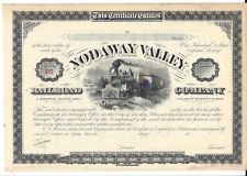 THE NODAWAY VALLEY RAILROAD COMPANY .,,,,,,UNISSUED 1880'S STOCK CERTIFICATE