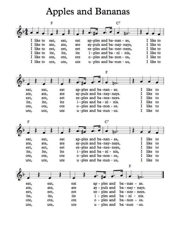 Free Sheet Music - Free Lead Sheet - Apples and Bananas - Traditional