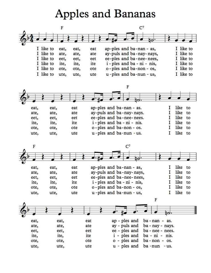 Free Sheet Music - Free Lead Sheet - Apples and Bananas - Traditional