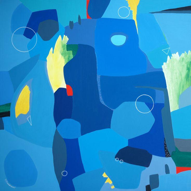 """""""Wave after wave"""" by Pavla Hroudová, oil on canvas, 80x80cm"""