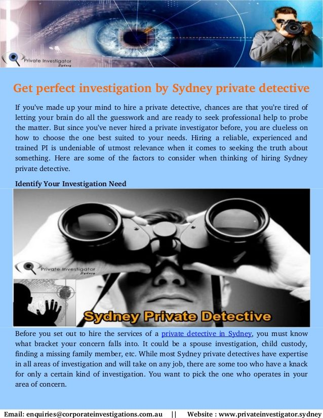 Private Investigator provides best services Sydney private detective. We are appointing qualified and professional private detective from Sydney. You can hire an experienced private detective in Sydney at lowest budget.