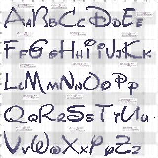 amorevitacrocette: alfabeti Disney a punto croce
