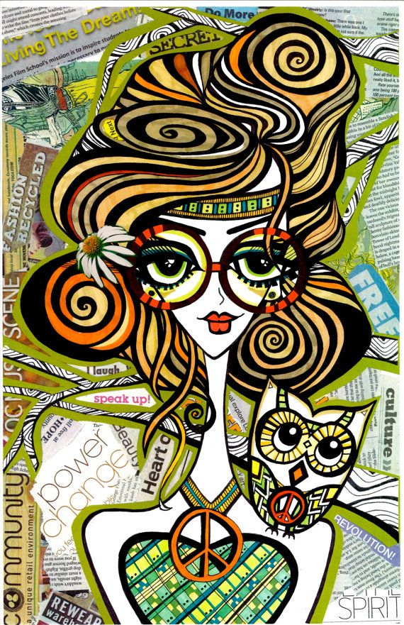 Positive Art and Girls with Owls Art Decor by HollyBlissArt, $20.00