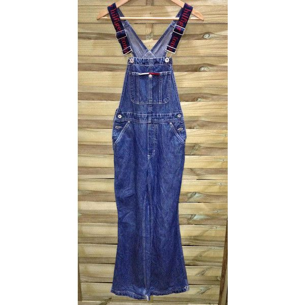 Vintage Tommy Hilfiger Denim Peto Mono Dungarees Overol 90's unisex... ❤ liked on Polyvore featuring tops, hilfiger denim, button top, logo top, pocket tops and vintage tops