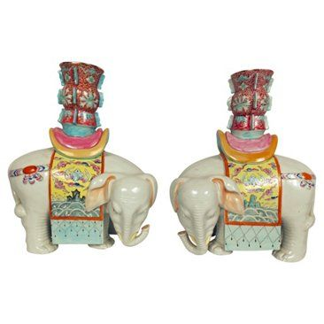Check out this item at One Kings Lane! Asian Midcentury Candleholders, Pair
