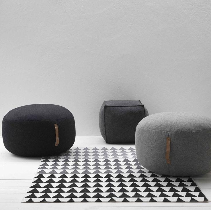 Design Vintage | Grey Wool Pouffe | Grey Felt Pouf | Hubsch
