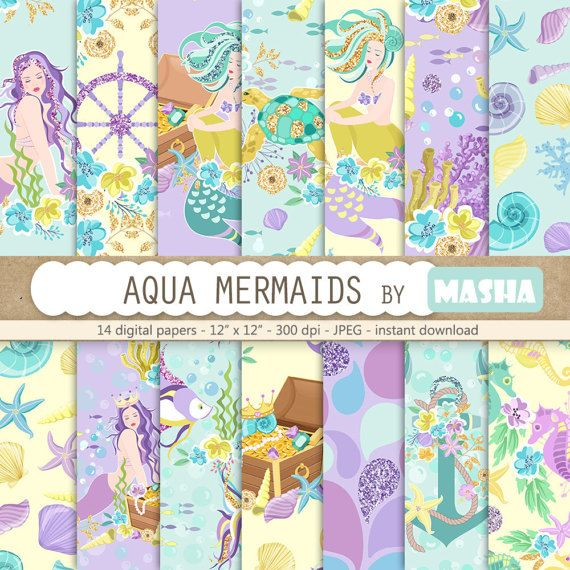Mermaid digital paper: AQUA MERMAIDS with mermaid by MashaStudio #mermaid #digital #paper #planner #cover #stickers #aqua #purple #sea #shell #anchor #illustrator #fashion #illustrator #nautical #navy #glitter #seamless #wrapping #stickers