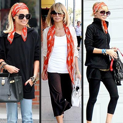 "Scarf sense! ""Nicole Richie sports three looks from one scarf."""