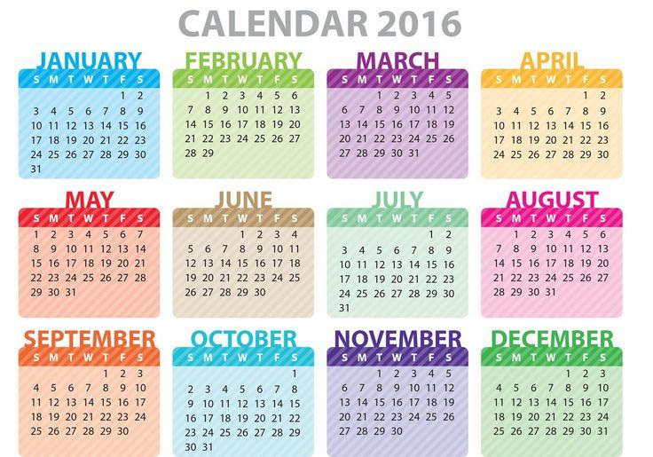 2016 Calendar Uk