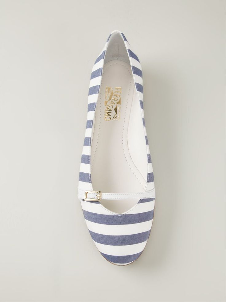 New iris blue and white leather and cotton 'Audrey' ballerinas from Salvatore Ferragamo