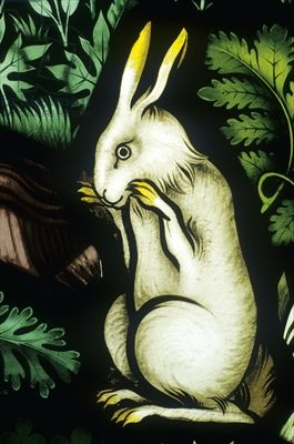 Rabbit, detail from the temptation of Eve (stained glass) Credit: Rabbit, detail from the temptation of Eve (stained glass), Pugin, Augustus Welby (1812-52) / Ely Stained Glass Museum, Ely Cathedral, Cambridgeshire, UK / Photo © Neil Holmes / The Bridgeman Art Library