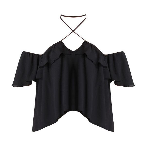 Carla Off the Shoulder Halter Blouse in Black found on Polyvore featuring tops, blouses, shirts, t-shirts, halter top, halter-neck tops, off shoulder blouse, tie halter top and halter blouse