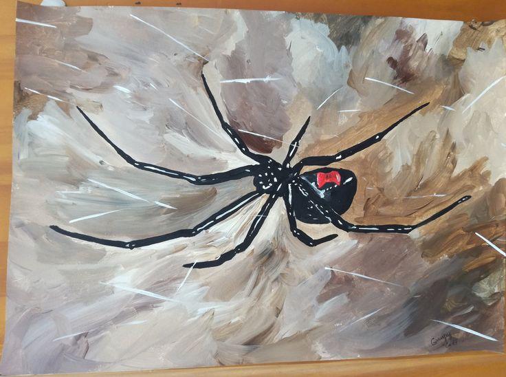 """Dessin Peinture acrylique sur papier par G.Vanspey format A4 animal araignée black widow nude painting """"veuve noire"""" de la boutique vanspeygalleryart sur Etsy"""
