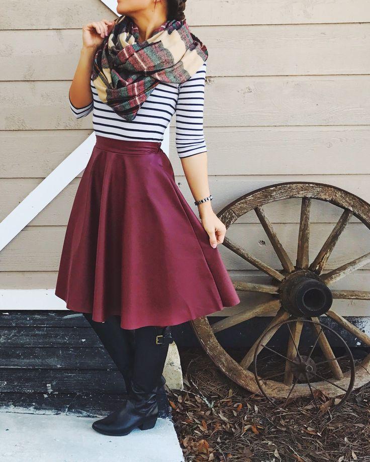 Plaid. Stripes. Garnet Leather. Modest Winter Fashion.