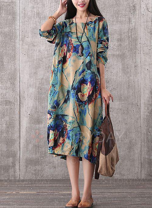 Платья - $43.62 - Винтажное платье из хлопока длины миди с длинными рукавами (1955110713)