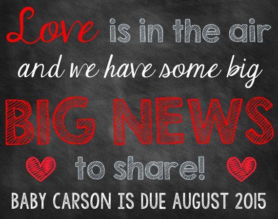 Valentine's Day Chalkboard Pregnancy Announcement Pregnancy Reveal Valentine's Day Announcement Valentine's Day Pregnancy Love Heart