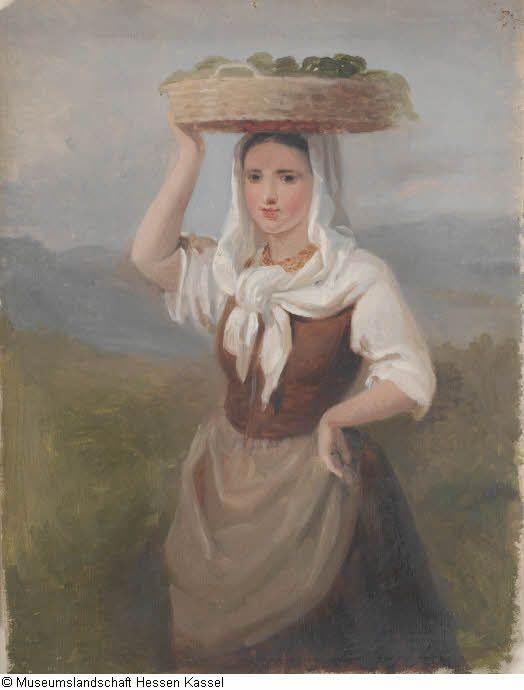 Junge Bäuerin mit Gemüsekorb auf dem Kopf, Studie Bild1