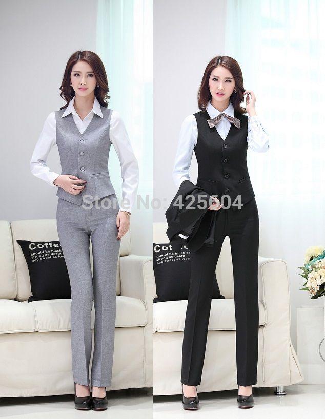 Mejor Diseño Uniforme formal Trajes de pantalones femeninos Blazers Trajes Chaquetas y pantalones para las señoras 2015 verano Negocios Mujeres Pantalones conjunto de la oficina Bajo $ 62.21 | Dhgate.Com