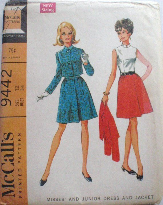10a4c01608c McCalls 9442 - Band Collar Sleeveless Dress and Short Lined Jacket - 1960 s  Sewing Pattern - Size 12
