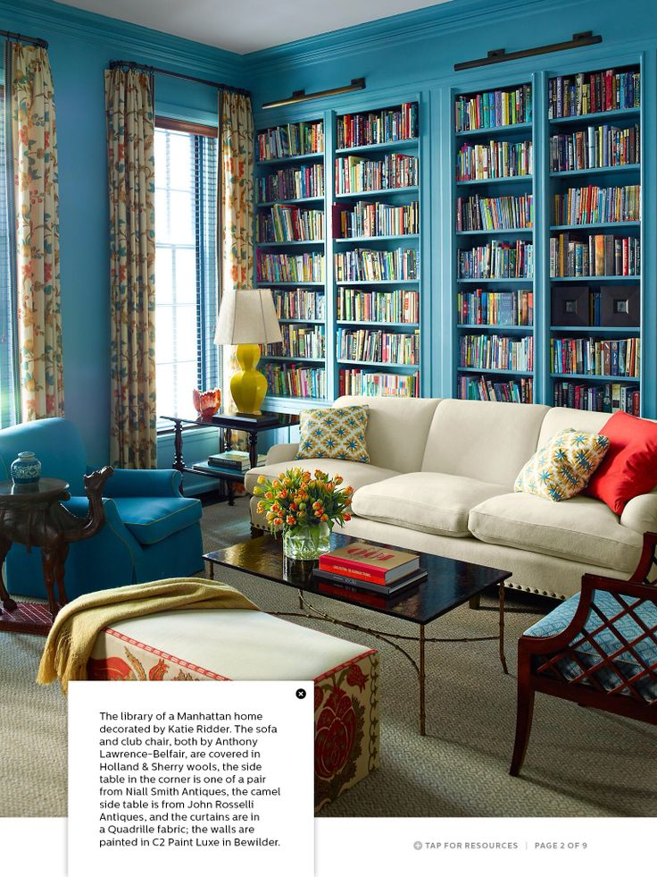 Color is gorgeous! Mix of living room/library or just a formal colorful library...love!